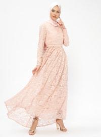 Dantelli Elbise - Pudra - Loreen By Puane