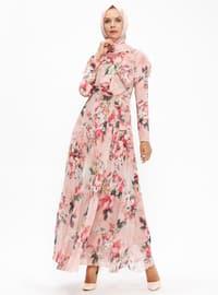 Çiçek Desenli Şifon Elbise - Pudra - Loreen By Puane