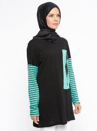 Green - Black - Stripe - Crew neck - Cotton - Blouses