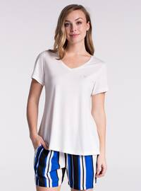 Ecru - Saxe - V neck Collar - Stripe - Pyjama