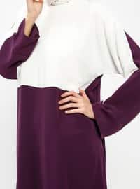 Purple - Ecru - Crew neck - Unlined - Dresses
