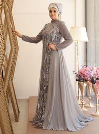 Lal Abiye Elbise - Gri - Saliha
