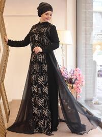 Lal Abiye Elbise - Siyah - Saliha