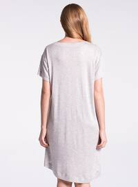 Gray - V neck Collar - Nightdress