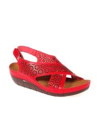 Sandalet - Kırmızı - Pembe Potin