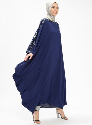 Navy Blue - Silver tone - Unlined - Crew neck - Abaya
