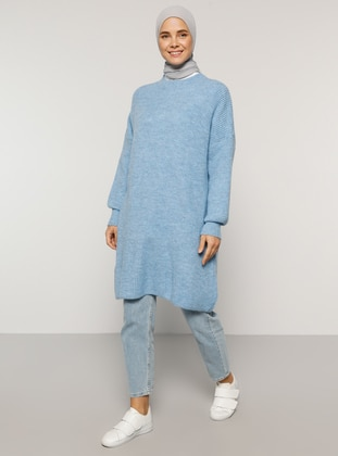 Blue - Crew neck - Cotton - Acrylic -  - Tunic