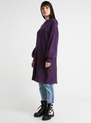 Purple - Crew neck - Cotton - Acrylic -  - Tunic