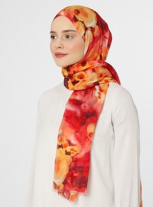 Red - Printed - Shawl - Eşarp