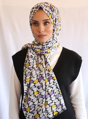 Yellow - Purple - Printed - Shawl - Eşarp