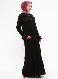 Fermuarlı Ferace - Siyah - Ginezza
