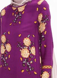 Purple - Floral - Crew neck - Tunic - ZENANE
