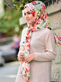 Orange - Printed - Shawl -  Eşarp