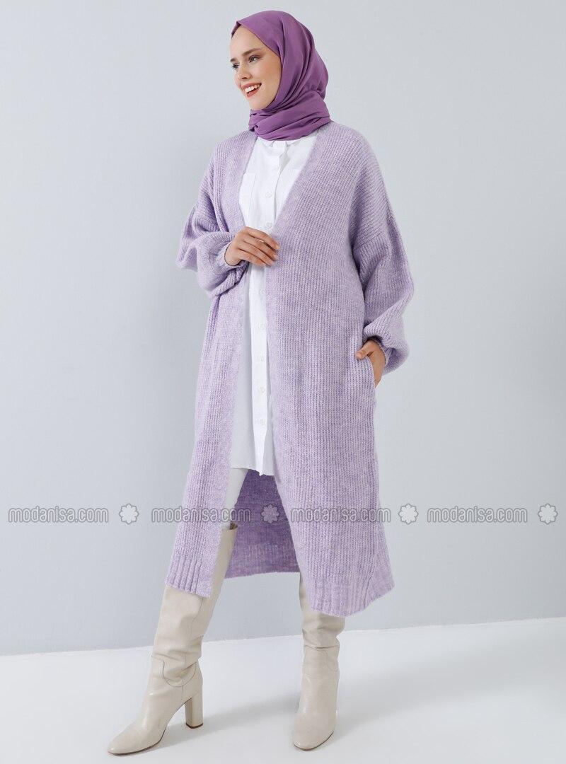 Lilac - Cotton - Acrylic - Cardigan