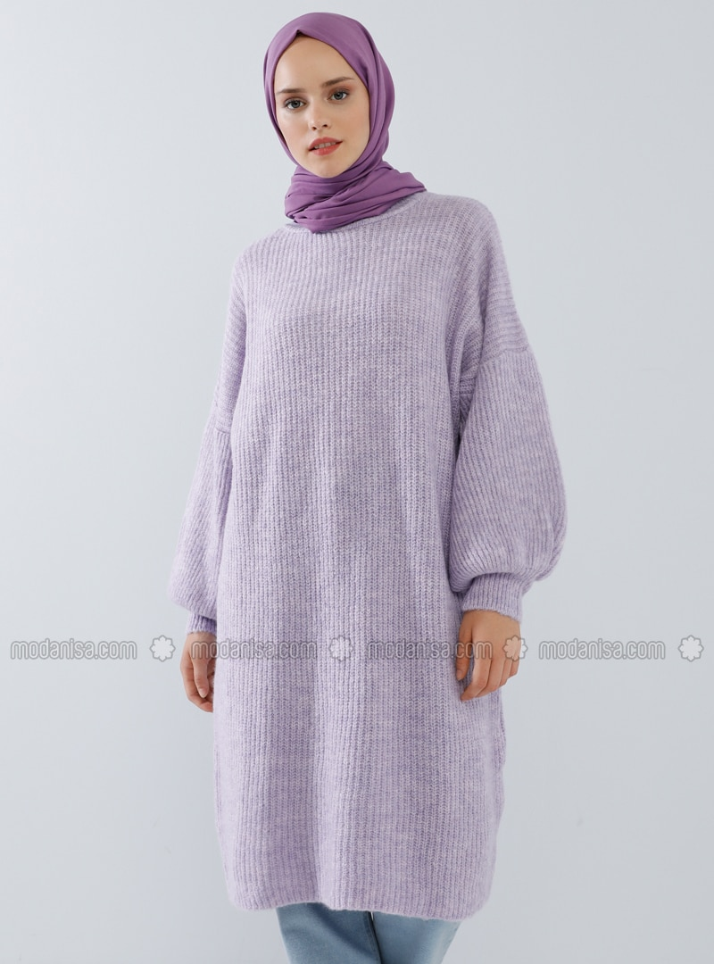 Lilac - Crew neck - Cotton - Acrylic -  - Tunic