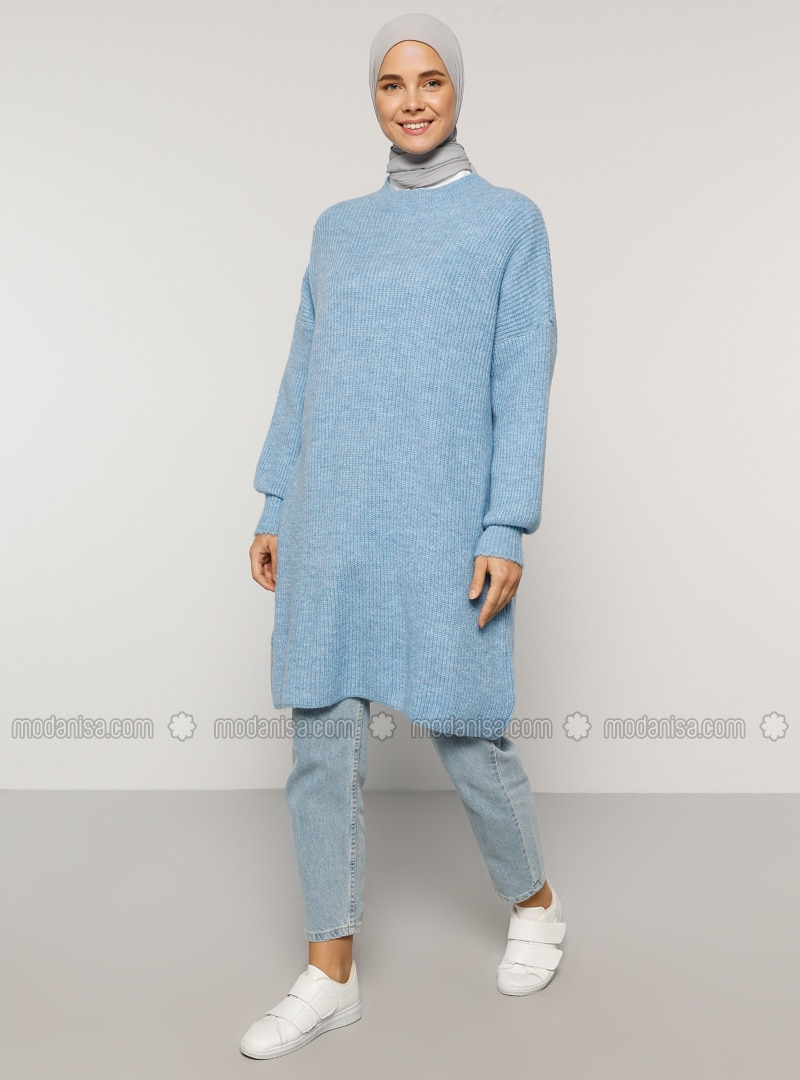 Blue - Crew neck - Cotton - Acrylic -  - Tunic