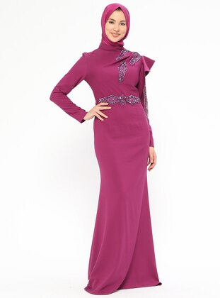 Plum - Fully Lined - Polo neck - Muslim Evening Dress