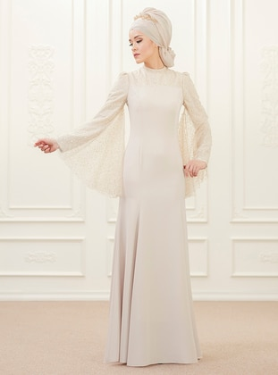 Golden tone - Fully Lined - Point Collar - Muslim Evening Dress