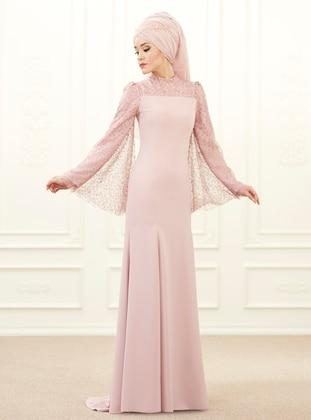 Powder - Fully Lined - Point Collar - Muslim Evening Dress