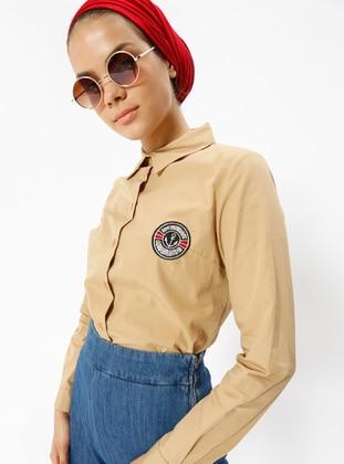 Beige - Point Collar - Tunic