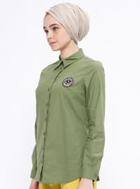 Khaki - Point Collar - Blouses