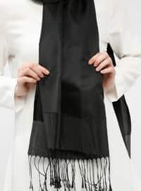 Black - Plain - Fringe - Shawl