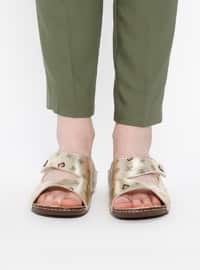 Brown - Golden tone - Sandal - Slippers