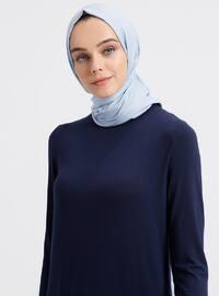 Navy Blue - Crew neck - Viscose - Tunic
