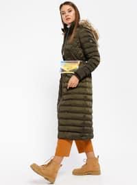 Khaki - Fully Lined - Polo neck - Coat