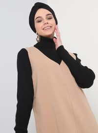Camel - V neck Collar - Tunic