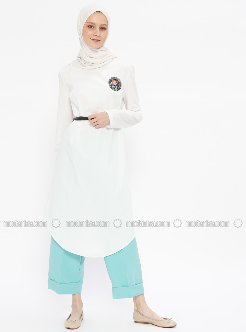 Ecru - Crew neck - Tunic