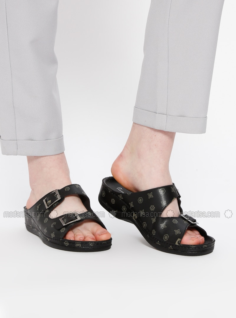 Black - Beige - Sandal - Slippers