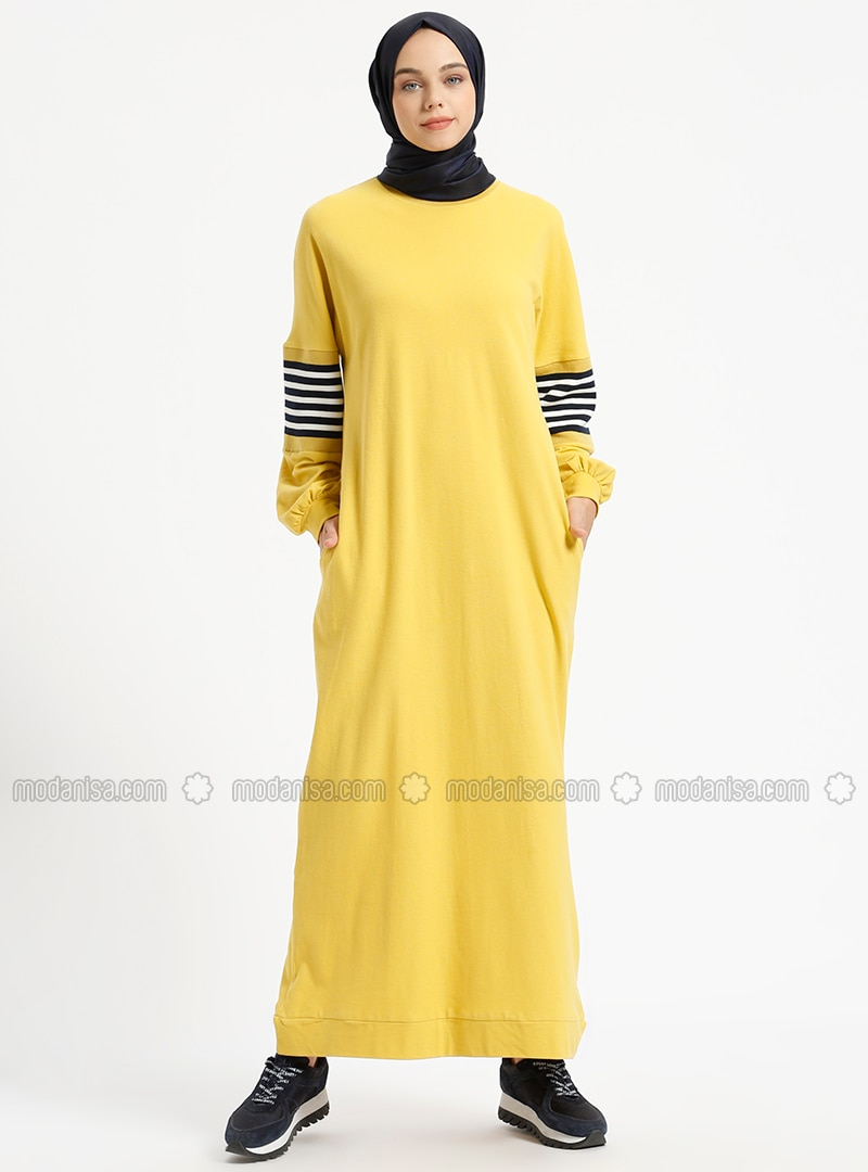 Mustard - Crew neck - Unlined - Cotton - Dresses
