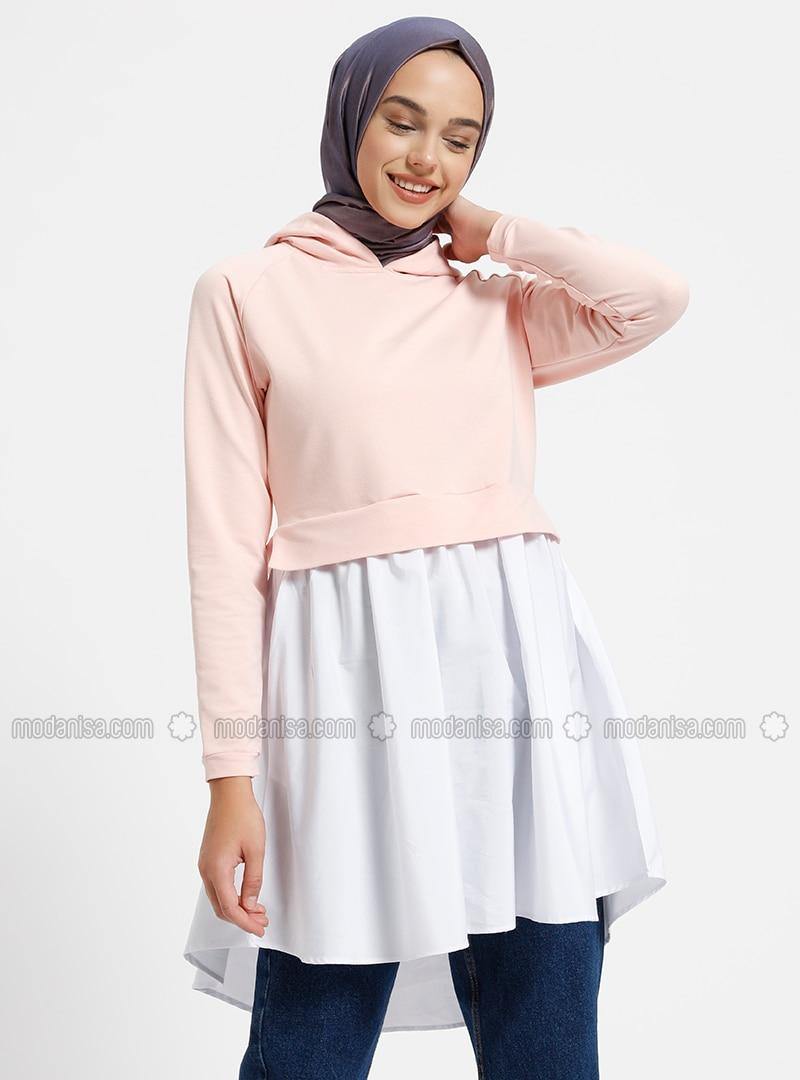 White - Pink - Ecru - Salmon - Tunic