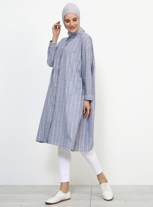 Black - White - Ecru - Stripe - Point Collar - Cotton - Tunic