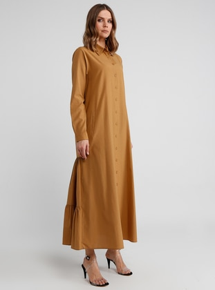 Brown - Tan - Point Collar - Unlined - Dresses