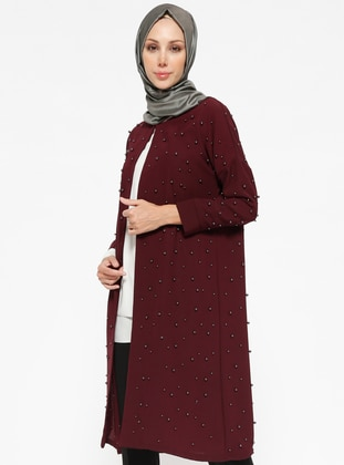 Hüma Sultan İncili Krep Ceket - Bordo