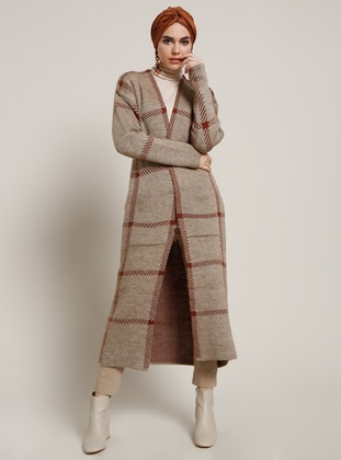 Brown - Minc - Plaid - Acrylic - Cardigan