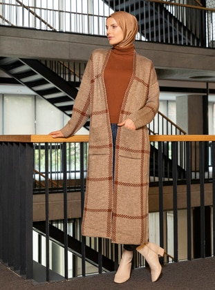 Brown - Minc - Plaid - Acrylic - Cardigan