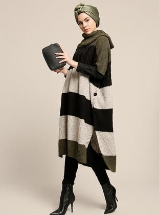Khaki - Polo neck - Unlined - Acrylic - Poncho