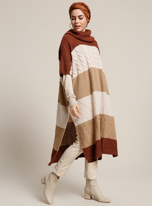 Brown - Polo neck - Unlined - Acrylic - Poncho
