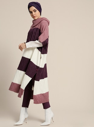 Lilac - Polo neck - Unlined - Acrylic - Poncho - Refka