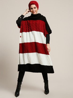 Red - Black - Polo neck - Unlined - Acrylic - Poncho