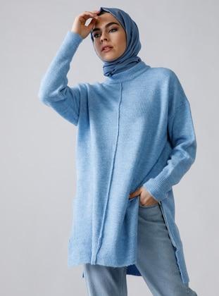 Baby Blue - Polo neck - Acrylic -  - Tunic