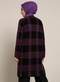 Black - Purple - Plaid - Acrylic - Cardigan