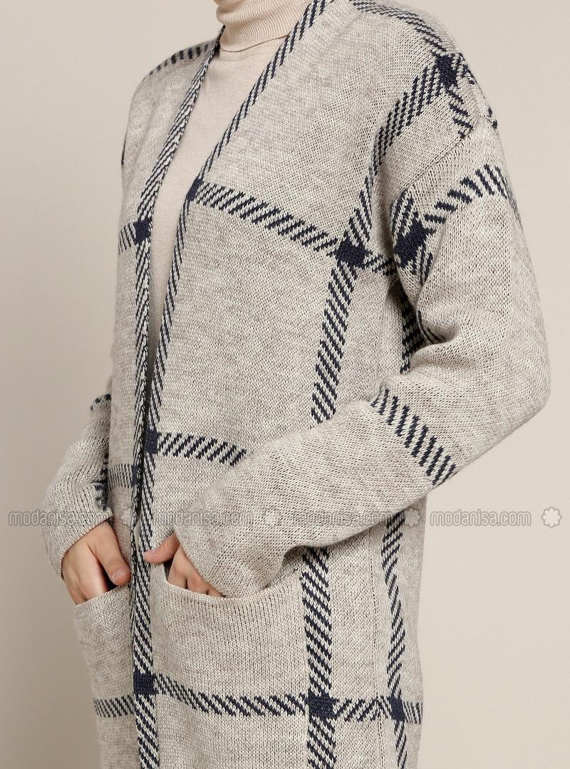 cheap for discount 0bd93 7f83b Marineblau - Beige - Tartan - Acryl - Strickjacke
