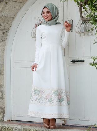 White - Mint - Floral - Fully Lined - Crew neck - Muslim Evening Dress