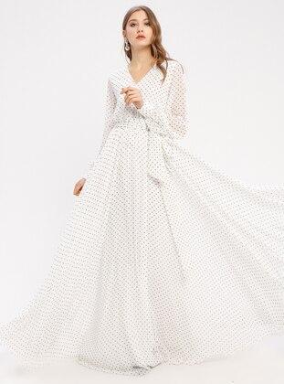 White - Ecru - Polka Dot - Fully Lined - V neck Collar - Muslim Evening Dress - Pierre Cardin