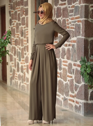 Khaki - Unlined - Crew neck - Jumpsuit - Rana Zenn