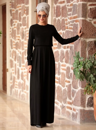Black - Unlined - Crew neck - Jumpsuit